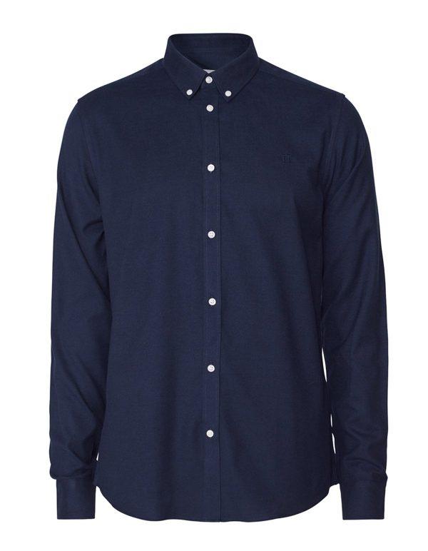 Les Deux Harrison B.D Brushed Shirt Dark Navy