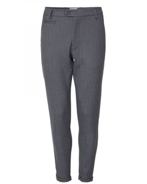 Les Deux Como Herringbone Suit Pants Light Grey Melange