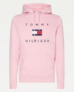 Tommy Hilfiger Men Flag Logo Cotton Hoody Classic Pink
