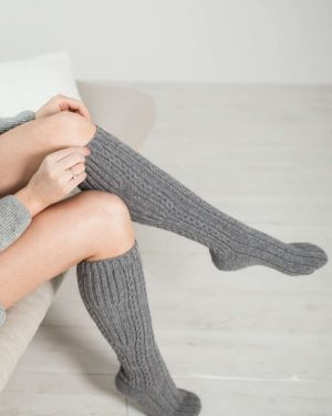 Pura Wool Socks Knee-length Grey