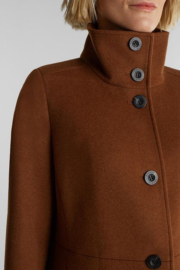 Esprit Wool Coat Rust Brown