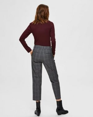 Selected Femme Milo Cropped Pants Medium Grey Melange