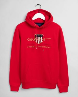 Gant Archive Shield Hoodie Bright Red