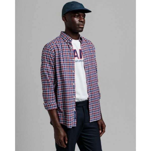 Gant Twill Micro Tartan Shirt Bright Red