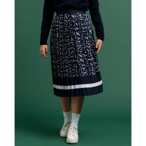 Gant Word Plisee Skirt Evening Blue