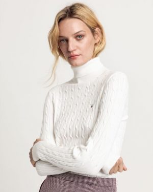 Gant Stretch Cotton Cable Turtleneck Knit Eggshell
