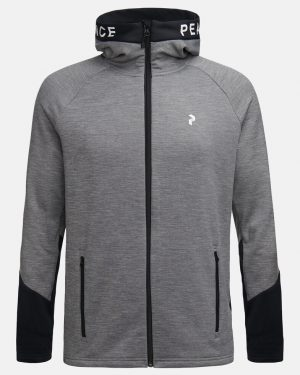 Peak Performance Rider Zip Hood Men Grey Melange