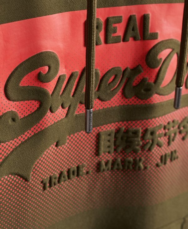 Superdry Vintage Logo Halftone Embossed Hoodie Olive Night