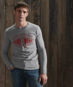 Superdy Modern Workwear Long Sleeve Top Peppered Grey Grit