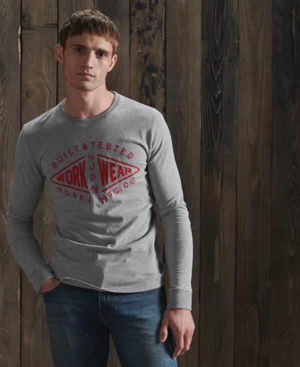 Superdy Modern Workwear Long Sleeve Top Peppered Grey Grit