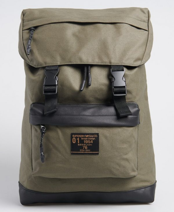 Superdry Waxed Top Loaded Commuter Bag Olive Night
