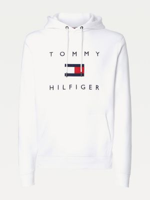 Tommy Hilfiger Men Flag Logo Cotton Hoody White