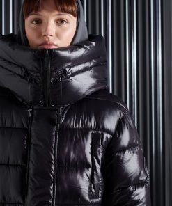 Superdry High Shine Duvet Coat Black
