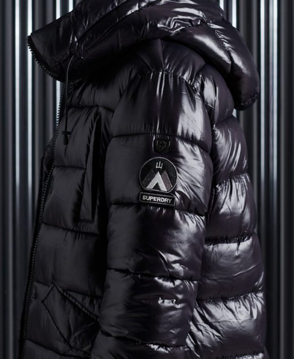 Superdry High Shine Duvet Coat Black
