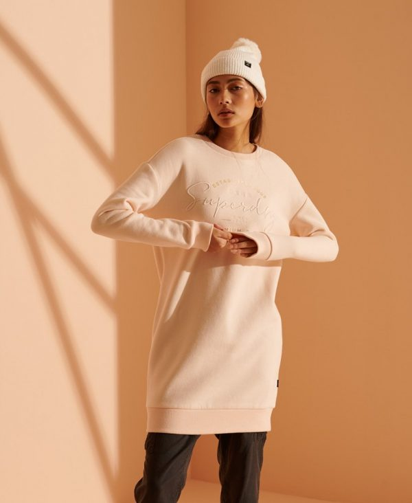 Superdry Established Crew Sweat Dress Bright Blush