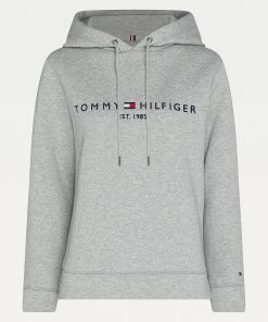 Tommy Hilfiger Essentials Logo Hoody Women Light Grey Heather