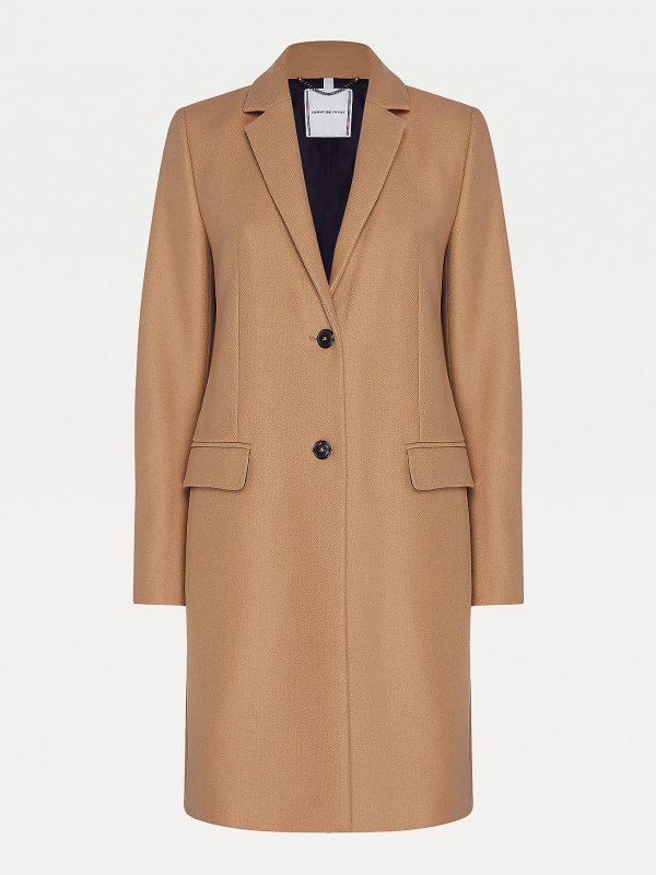 Tommy Hilfiger Essential Wool Cashmere Coat Women Classic Khaki