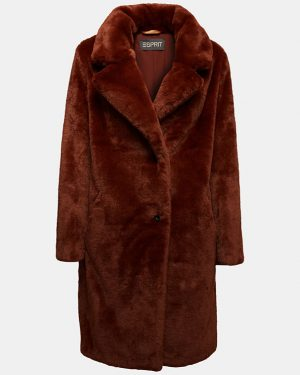 Esprit Teddy Coat Rust Brown
