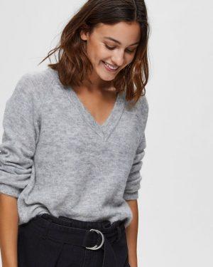 Selected Femme Lulu V-neck Light Grey
