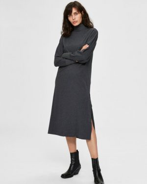 Selected Femme Jeanette Midi Dress Grey