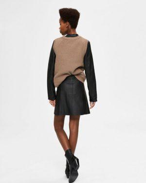 Selected Femme Ibi Leather Skirt Black