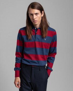 Gant Barstripe heavy Rugger Shirt Mahogany Red