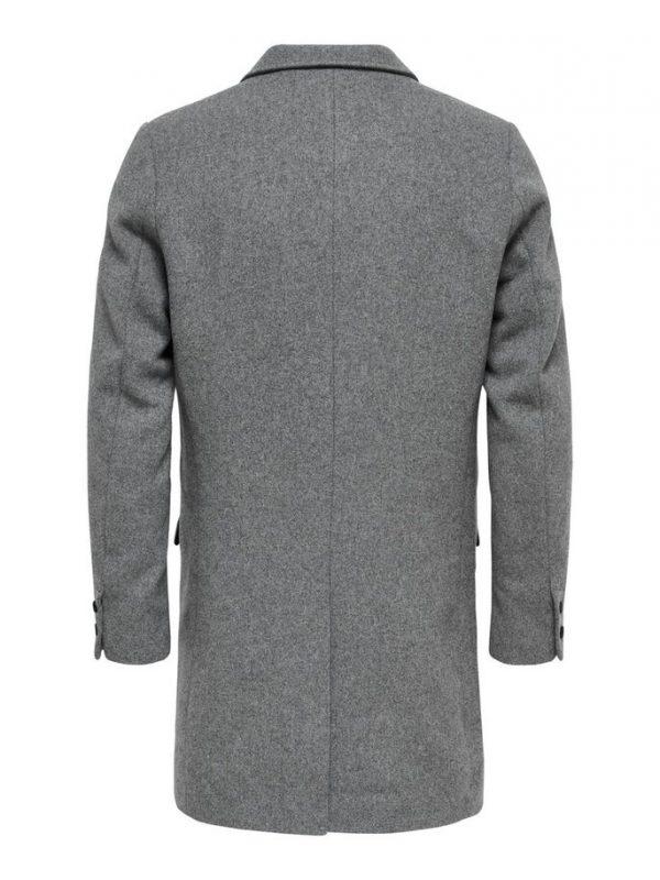 Only & Sons Julian Solid Wool Coat Grey