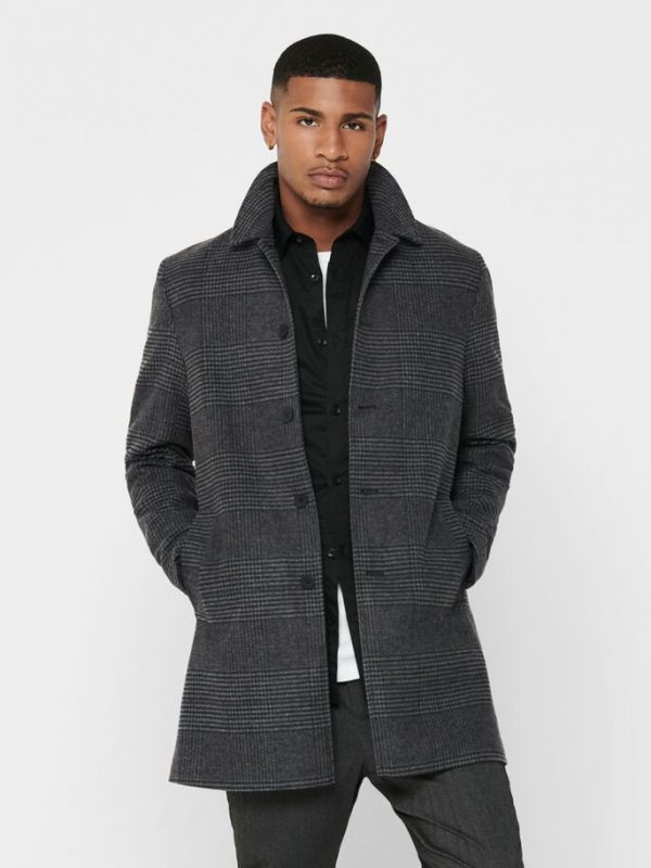 Only & Sons Adam Maximillian Coat Checked Grey