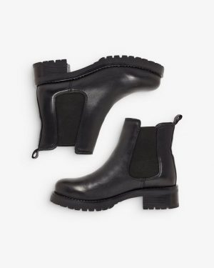 Bianco Biacoral Winter Chelsea Leather Boots Black