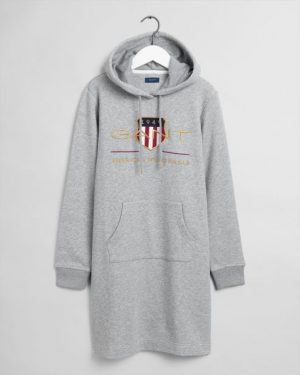 Gant  Woman Archive Shield Hoodie Dress Grey Melange