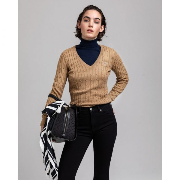 Gant Stretch Cotton Cable V-neck Warm Khaki