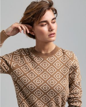 Gant Woman Icon G Intarsia Crew Warm Khaki