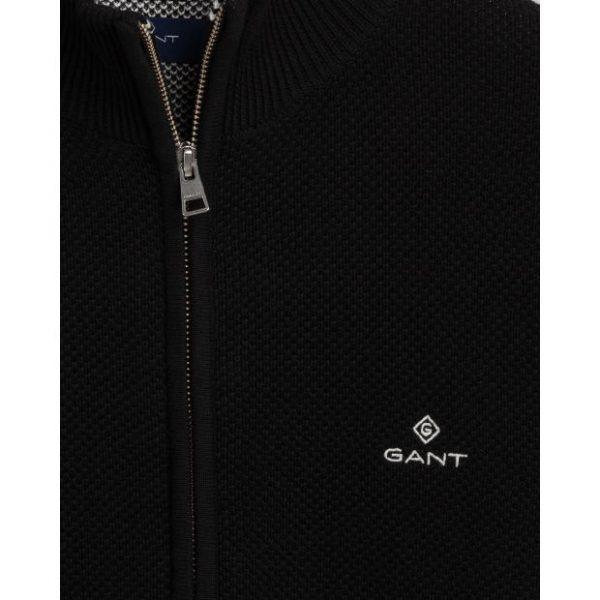 Gant Cotton Pique Zip Cardigan Black