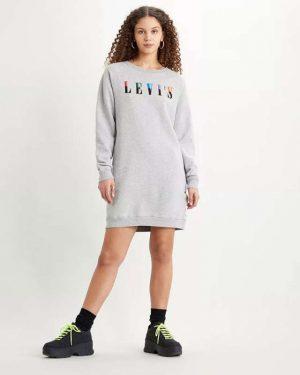 Levi´s Crew Sweatshirt Dress Smokestack Grey