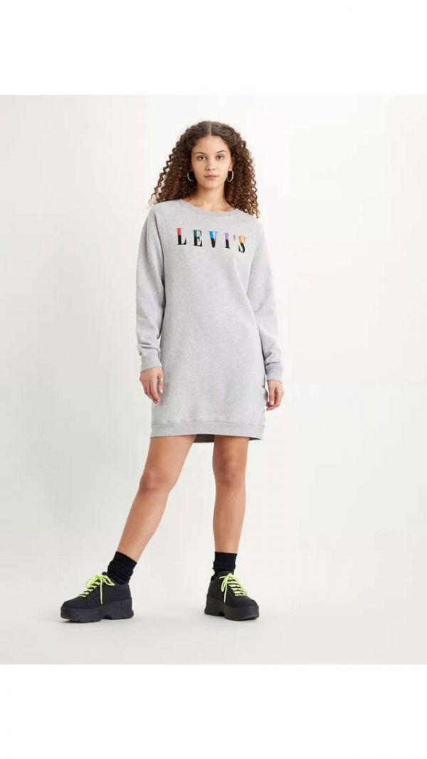 Levi´s Crew Sweatshirt Dress Smokestack Grey