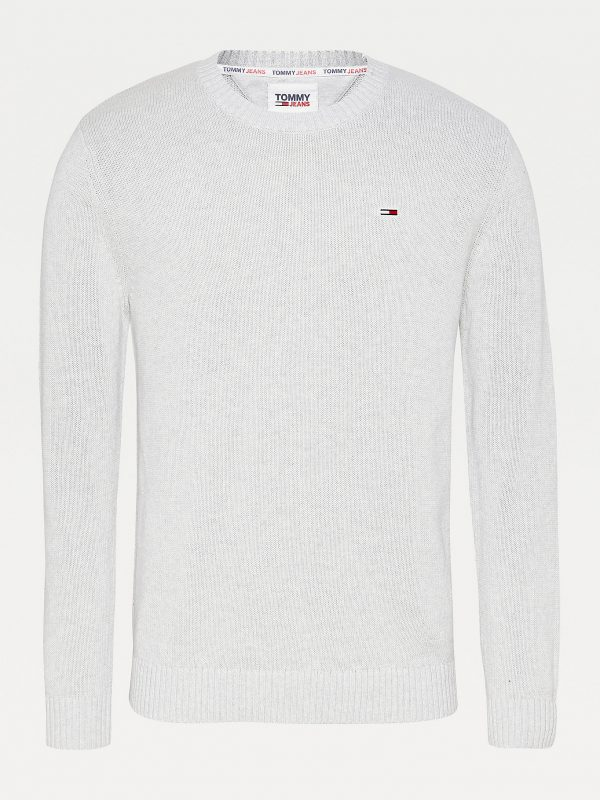 Tommy Jeans Organic Cotton Jumper Silver Grey Heather