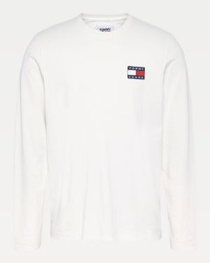 Tommy Jeans Tommy Badge Longsleeve T-shirt White