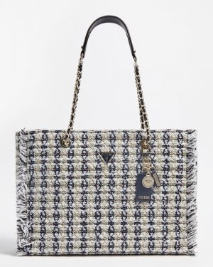 Guess Cessily Tweed Tote White