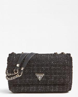 Guess Tweed Crossbody Bag Black
