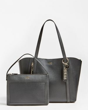 Guess Naya Front Zip Shopper Black