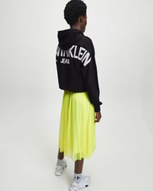Calvin Klein Puff Print Back Logo Hoodie Black