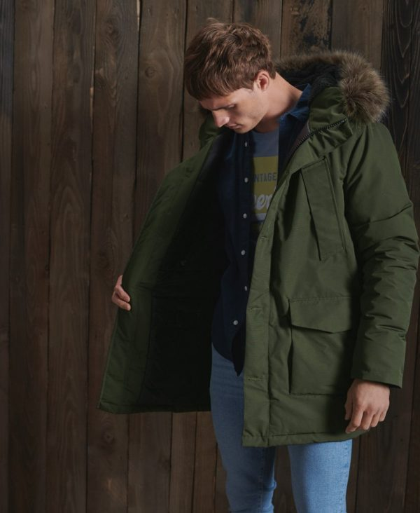 Superdry Everest Parka Coat Army Khaki