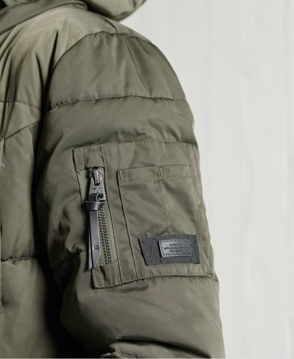 Superdry Longline Chinook Coat Dark Moss