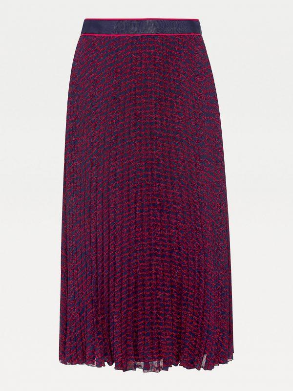 Tommy Hilfiger Bali Printed Midi Skirt Red