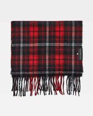 Tommy Hilfiger Uptown Check Wool Scarf Red Check