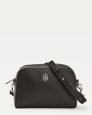 Tommy Hilfiger Essence Monogram Plaque Crossover Bag Black
