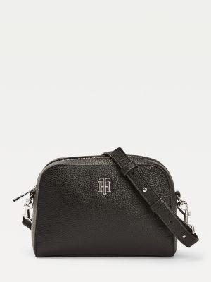 Tommy Hilfiger Essence Monogram Plaque Crossover Bag Black