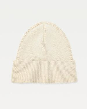 Tommy Hilfiger Cotton Cashmere Beanie Women Oatmeal