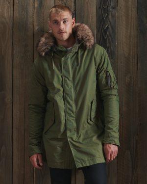 Superdy Service Faux Fur Trim Parka Coat Washed Khaki