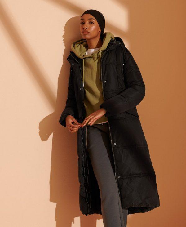 Superdry Microfibre Duvet Coat Black